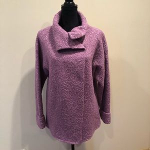 Eileen Fisher sweater with snap closure.